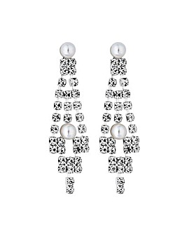Jon Richard Pearl Crystal V Drop Earring