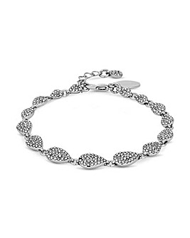 Silver Plated Crystal Pave Nuggets Bracelet