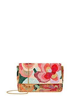 Accessorize Jasmine Floral Beaded Clutch