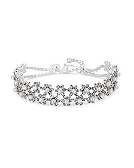 Jon Richard Pearl Crystal Flora Bracelet