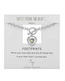 Footprints Heart T Bar Bracelet