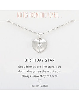 Birthday Star Heart Pendant