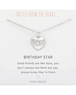 Birthday Star Heart Pendant