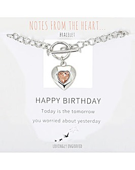 Happy Birthday Heart  T Bar Bracelet