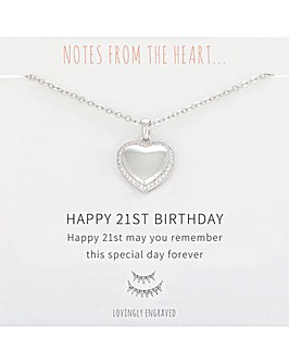 Happy 21st Birthday Heart Pendant