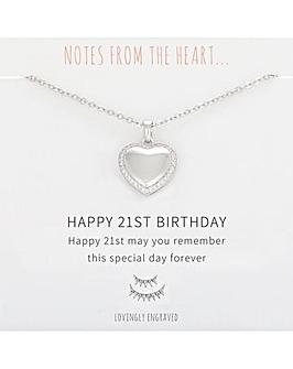 Happy 21st Birthday Heart Pendant