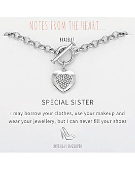 Special Sister Heart T Bar Bracelet