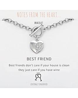Best Friend Heart T Bar Bracelet