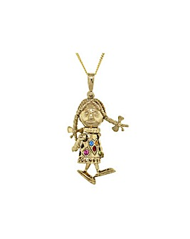 9Ct Gold Mini Rag Doll Necklace