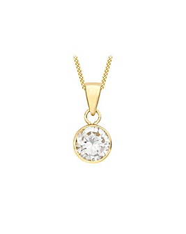 9Ct Gold Single Solitaire Necklace
