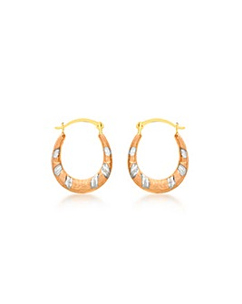 9Ct Gold 3 Tone Mini Dia Cut Earrings