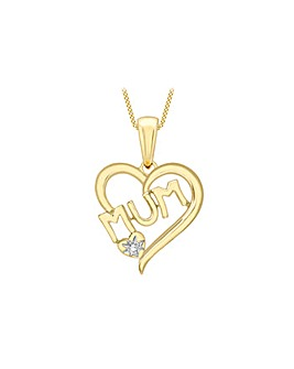 9Ct Gold Diamond Mum Heart Necklace
