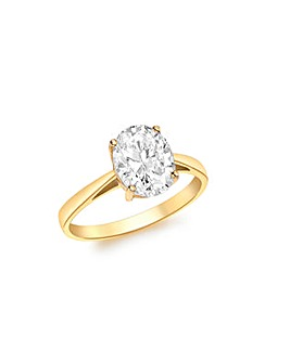 9Ct Gold Large Oval Cubic Zirconia Ring