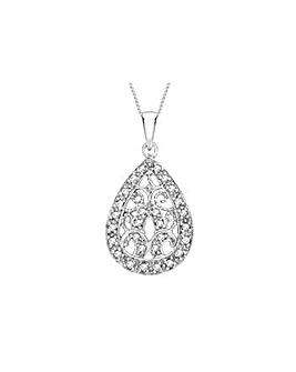 9Ct Gold & Diamond Teardrop Necklace