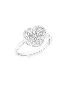 9Ct Gold Diamond Heart Ring