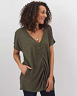 Khaki Ruched Front T-Shirt