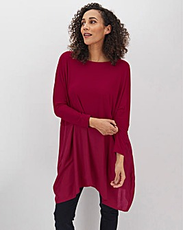 Plum Colour Block Hanky Hem