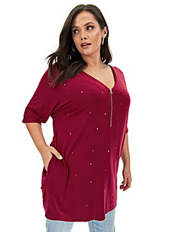 Plum Zip Front Diamante Tunic