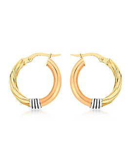 9Ct 3 Colour Gold Twist Earrings