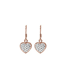 Sterling Silver Rose Plated Drop Earring