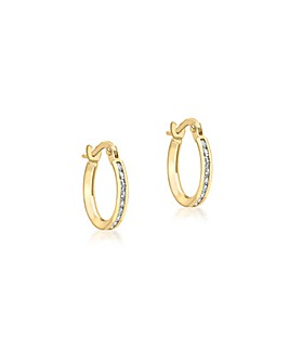 9Ct Gold Band Hoop Earrings