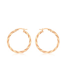 9Ct Gold Med Twist Creole Earrings