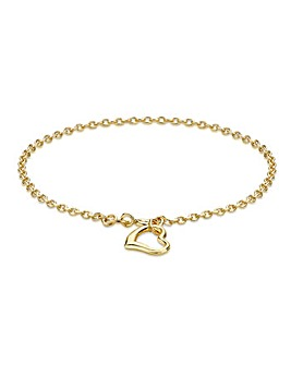9Ct Gold Heart Bracelet