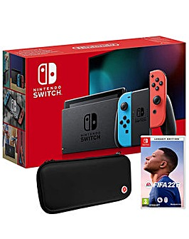 Switch Neon Console Inc FIFA 22 and Case