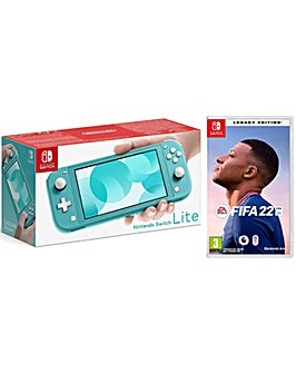 Switch Lite Turquoise and FIFA 22