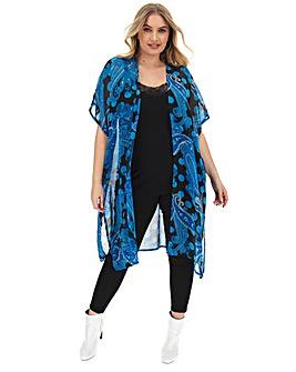 Blue Paisley Longline Kimono