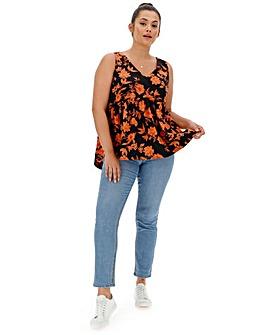 Orange Floral Babydoll Style Vest