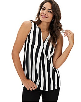Mono Stripe V-Neck Detail Vest
