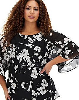Mono Floral Fluted Sleeve Sheer Blouse