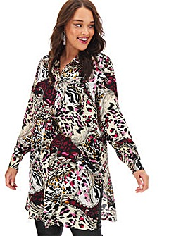 Mixed Print Long Satin Shirt