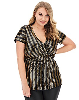 Black/Gold Sequin Stripe Wrap Top