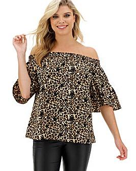 Leopard Star Print 3/4 Sleeve Bardot