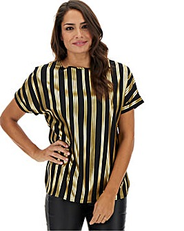 Gold Foil Stripe Print Stripe Boxy Top