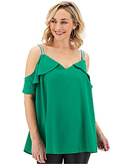 Green Drop Shoulder Frill Cami