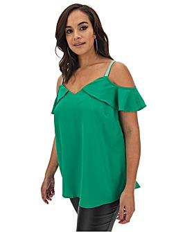 Green Drop Shoulder Frill Cami