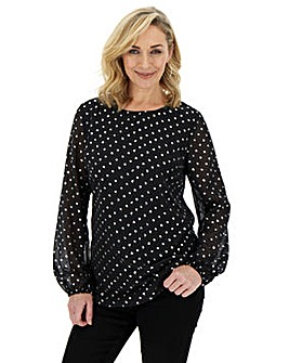 Black Blouse With Silver Foil Print