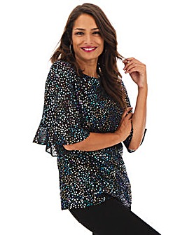 Oversized Metalllic Star Print Top