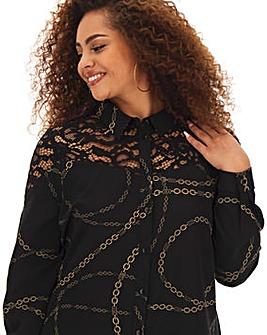 Lace Yoke Long Shirt