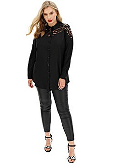 Lace Yoke Long Shirt