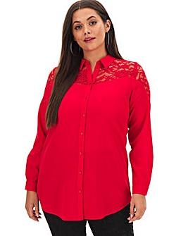 Red Lace Yoke Long Shirt