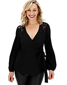 Black Lace Yoke Wrap Top