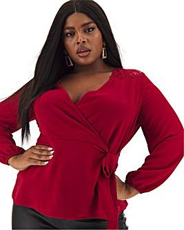 Red Lace Yoke Wrap Top