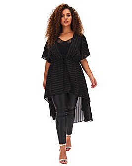 Black Linear Sequin Kimono With Dipped Hem