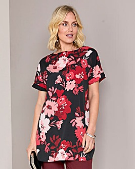 Red Floral Print Longer Length Boxy Top