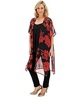 Red Floral Print Lurex Kimono
