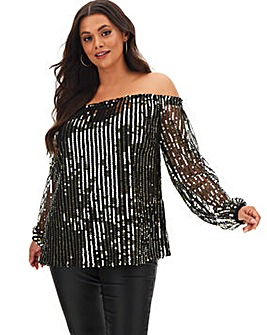 Black/Gold Long Sleeve Sequin Bardot